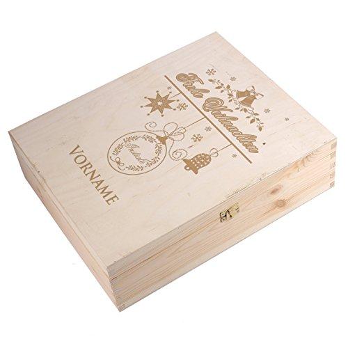 Herz & Heim® Geschenkbox aus Holz mit Gravur zu Weihnachten für 3 Weinflaschen - Wunschname und Inilital