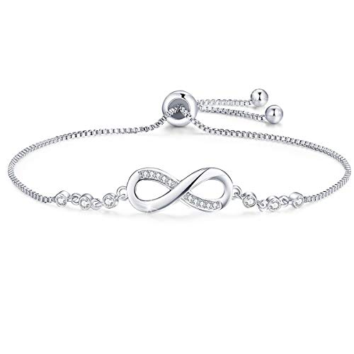 Tusuzik Double Heart 925 Sterling Silver White Gold Plated Bracelet Cubic Zirconia Paved Adjustable Infinity Bracelets,Anniversary Birthday Jewellery Gift for Women