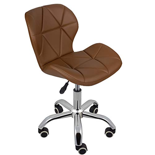 Charles Jacobs Dining/Office Swivel Chair with Chrome Legs with Wheels and Lift - Brown PU