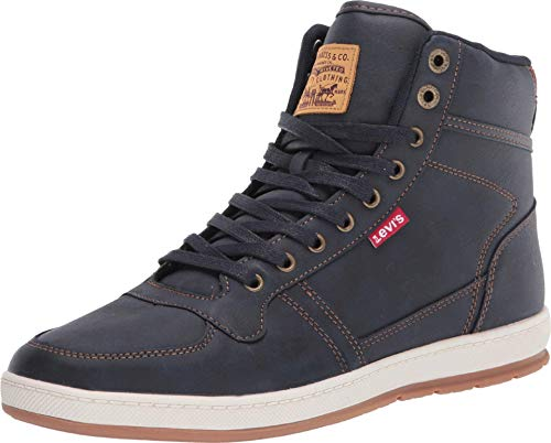 Levi's Mens Stanton Waxed UL NB Fashion Hightop Sneaker Shoe, Navy/Tan, 9.5 M