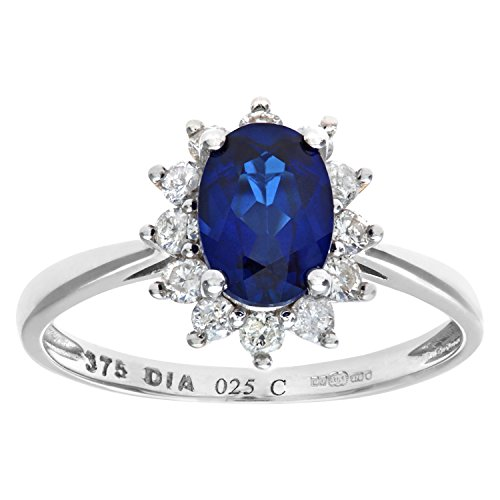 Naava Women's Round Brilliant 0.25ct Sapphire and Diamond 9 ct White Gold Oval Cluster Ring - Size P