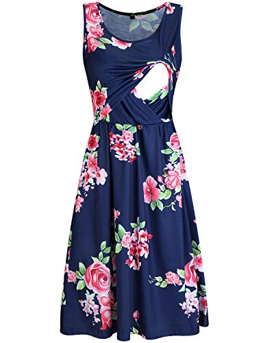 OUGES Womens Sleeveless Summer Floral Maternity Dresses Nursing Gown Breastfeeding Clothes(Floral03,M)