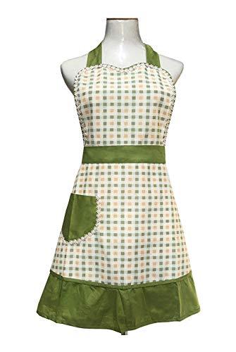 Schürze für Damen, Mädchen, Retro-Design, mit schicker Tasche, Grün