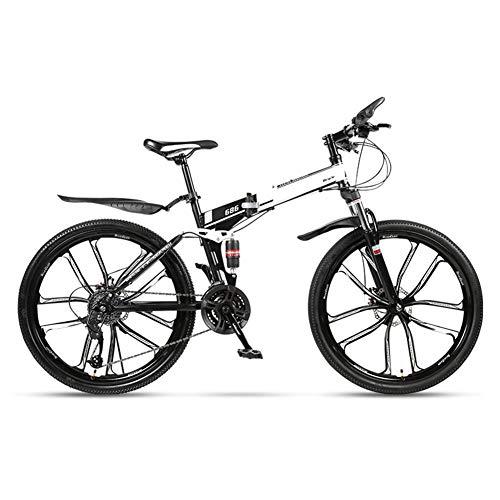 WSCQ 26 Pulgadas Adulto Bicicletas de Montaña, 27 Velocidad Bikes Doble Suspensión y Frenos de Disco Adecuado para una Altura de 165-185 cm,Blanco,10 Cutter Wheel
