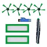 HALIEVE Filtros de repuesto para aspiradora Vorwerk Kobold VR200 VR300 (1 cepillo redondo + 4 cepillos laterales + 2 filtros + 1 cepillo pequeño)