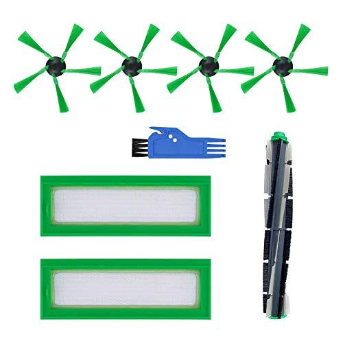 Filtrar Cepillo Piezas de Repuesto Accesorios Conjunto por Aspirador Robot Vorwerk Kobold VR200 VR300 (1 Cepillo Central + 2 Filtros + 4 Cepillos Laterales + 1 Cepillo Pequeño)
