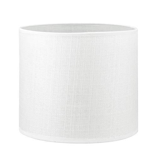 Lampenschirm rund | Canvas | Geeignet Für Pendellampe Stehlampe Tischlampe Wandlampe Deckenlampen besteht aus Baumwolle Für E27 Fassung Durchmesser 20cm Höhe 17cm Weiß Für alle Innenraumen
