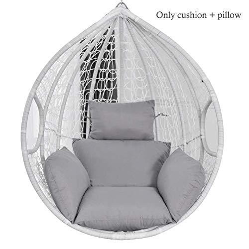Andre Hasay hängendes Ei-Hängematten Stuhl Kissen Schwingensitz Kissen Starkes Nest-hängende Stuhl-Rückseite mit Kissen für Innen im Freien- Grey