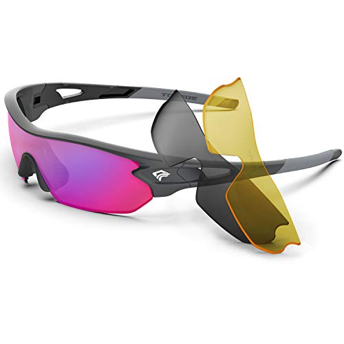 Torege Polarized Sports Sunglasses With 3 Interchangeable Lenes for Cycling Running Driving Fishing Golf Baseball Glasses TR002 (Grey Frame&Rainbow Lens)
