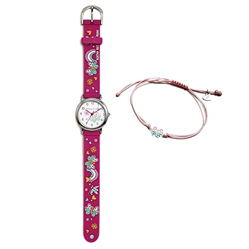Conjunto Agatha Ruiz de la Prada AGR307 colección Fantasía niña mariposas reloj fucsia pulsera plata - Modelo: AGR307