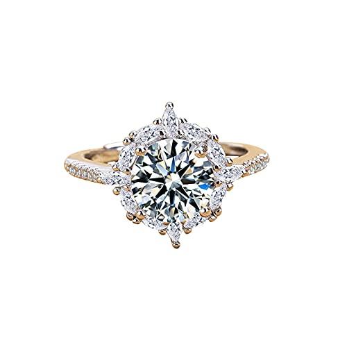 minjiSF Anillo fino de plata para mujer con diamante brillante, anillo de...