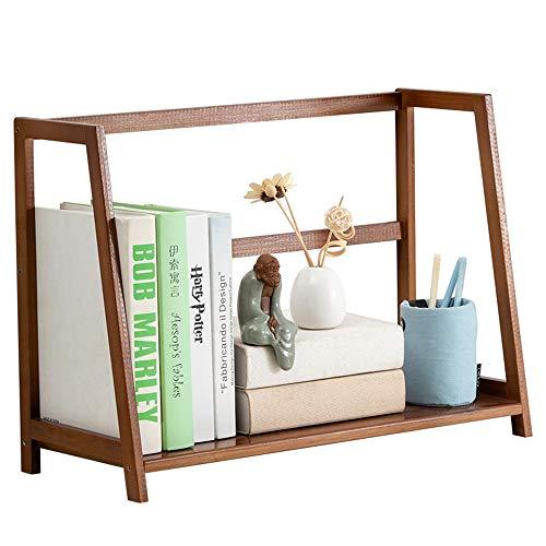 Mini estantes de escritorio de madera Almacenamiento de Oficina Organizador de escritorio Estante de bambú Mostrador Biblioteca del dormitorio Escritorio Estante de almacenamiento for los niños del ca