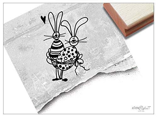 Stempel Osterstempel OSTERHASEN mit Herz - Tierstempel zu Ostern, Ostergrüße Karten Geschenkanhänger Geschenk für Kinder Osterdeko - zAcheR-fineT