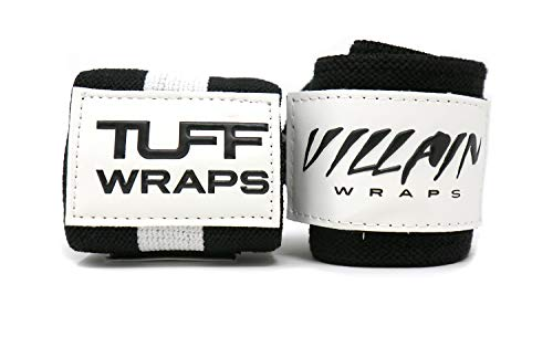 """Villain Wrist Wraps 16"""" for Powerlifting, Weightlifting, Strongman Training, Crossfit - (Black/White, 16 Inches)"""