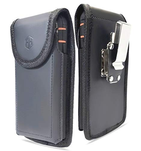 AH Premium 360 Rotating Military Grade Real Genuine Leather Men Phone Belt Construction Holster Pouch, for Android Moto iPhone 8 Plus XS max CASE Swivel Clip fits Otterbox or Thick Case