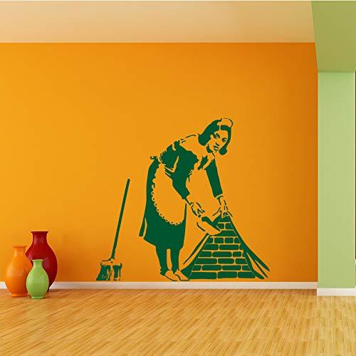YuanMinglu Street Art Vinyl Bank Maid Mold Doodle Clean Lady Decal Decoración para el hogar Verde 62cm x 58cm