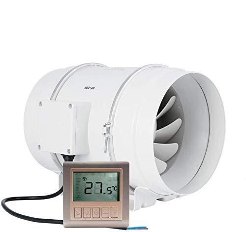 HG Power Ventilador en línea, extractor de aire con temporizador de 8 pulgadas con controlador de ventilación ventilador de escape para cocina, tiendas de campaña, taller, hidropónico (?200 mm)
