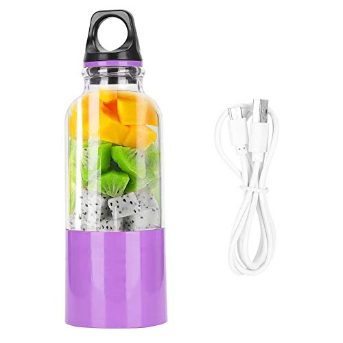 Exprimidor de Frutas, exprimidor de Verduras, exprimidor de Verduras, licuadora portátil de 500 ml licuadora USB Recargable para Viajes al Aire Libre para la Oficina de(Purple)