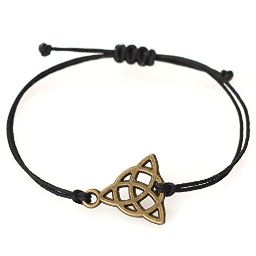 Rustic Triquetra Celtic Knot Bracelet for Men, Irish Knot Charm on Black String