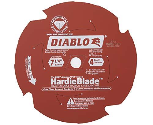 Diablo D0704DH Lame de scie à ciment à 4 dents avec diamant polycristallin (PCD) à pointe fine James Hardie/fibre