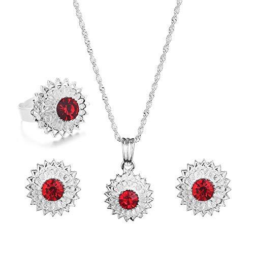 Etíope moda colgante collar pendientes anillo africano Eritrea Habesha boda conjunto de joyería nupcial-rojo