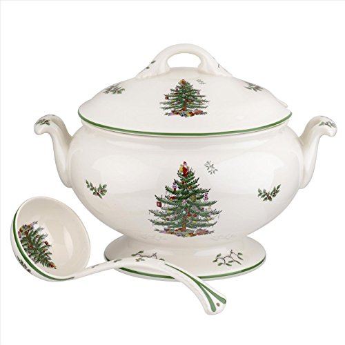 Spode Christmas Tree 75th Anniversary 4 Quart Footed Tureen and Ladle