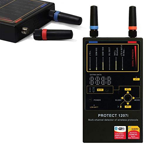 Detector De Radio Frecuencias GSM, WIFI LTE, 3G, 4G | 1207i | Detecta Micrófonos Ocultos y Cámaras Espía | GPS | Trackers | Máxima Calidad