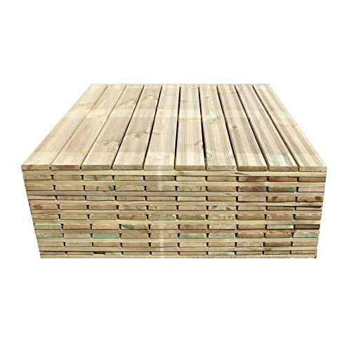 ONLYWOOD Mattonelle per Esterno in Legno di Pino Impregnato 100x100 cm, Confezione 10 Piastrelle - 10 Mq, Pavimento per Giardino Spessore 3,8 cm