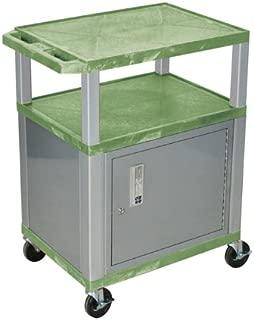 H WILSON WT34GC4E-N 3-Shelf AV Cart with Cabinet, Tuffy, Green