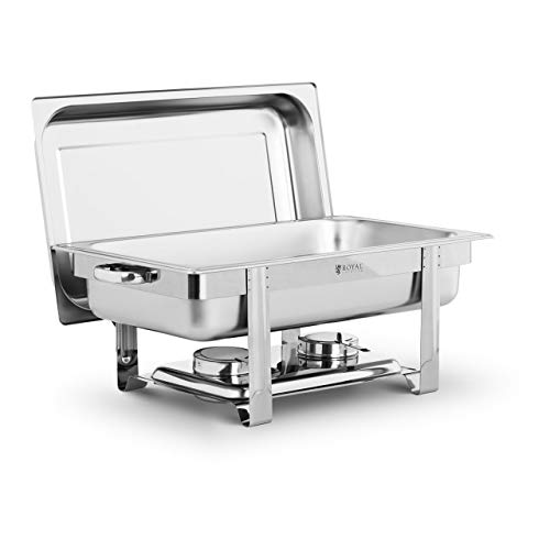 Royal Catering Chafing Dish Calentador De Buffet RCBD-FSCD (Acero inoxidable, GN 1/1, 8 Litros, Soporte de seguridad para combustible)