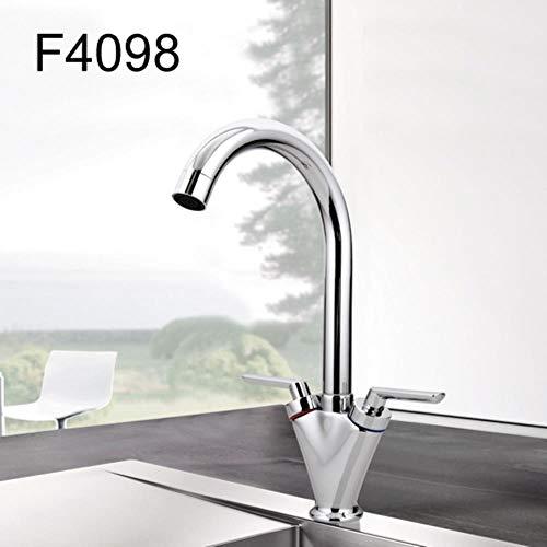 5151BuyWorld waterkraan Simple Style dual grip koud en warm water mengkraan keukenkraan outlet buis van Gooseneck Design & gratis verzending == > + F4098