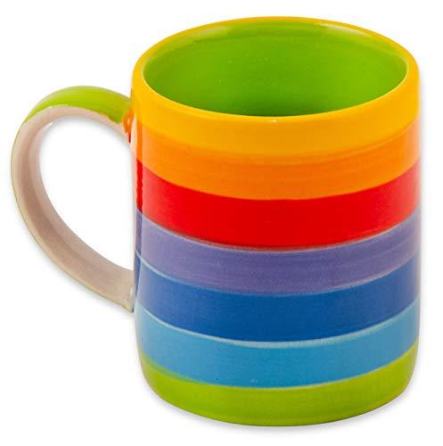 Purity Bunte Kaffee- und Teetasse in Regenbogenfarben   kleine handbemalte Keramiktasse   Regenbogentasse