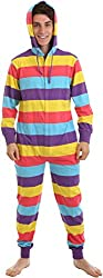 Adult Onesie Non Footed Pajama Red Yellow Purple Stripe XS-XXL(Size on Height)