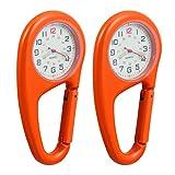 VOSAREA Lot de 2 montres à mousqueton en métal lumineux, porte-clés de ceinture, clip de ceinture, montre à quartz, montre médicale, unisexe, montre d'alpinisme, portable, orange