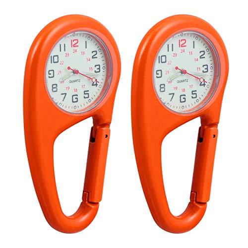 VOSAREA 2 Stück Clip auf Karabineruhr Metall Leuchtende Schlüsselanhänger Gürtel Gürtel Clip Quarz Uhr Sanitäter Arzt Krankenschwester Unisex Männer Frauen Bergsteigen Uhr Tragbare Orange