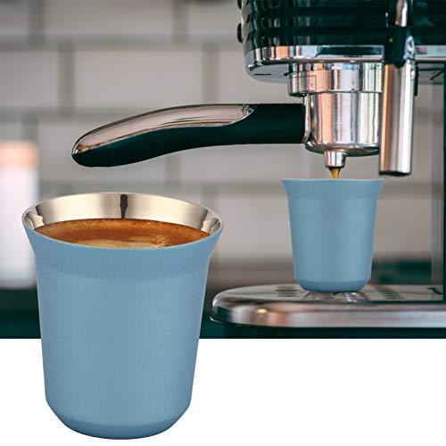 JADPES Taza de Doble Pared, Doble Pared 74x78 mm Taza de cápsula de café de Regalo para el hogar para la Familia para Uso Diario en la cafetería(Jazz Blue)