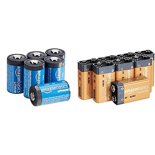 Amazon Basics – CR2-Lithium-Batterien, 3 V, 6er-Pack und Everyday Alkalibatterien, 9V, 8 Stück (Aussehen kann variieren)