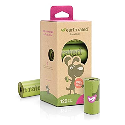 Earth Rated Dog Poop Bags, 120 Extra Thick and Strong Poop Bags for Dogs, Guaranteed Leak-proof, Lavender-scented, 8 Rolls, 15 Doggy Bags Per Roll, Each Dog Poop Bag Measures 9 x 13 Inches