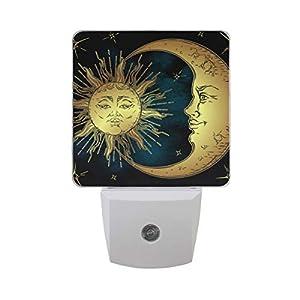 Linomo LED Night Light Lamp Sun Moon Star Auto Senor Nightlight Plug in for Kids Adults Boys Girls Bedroom Decor, 2 Pack