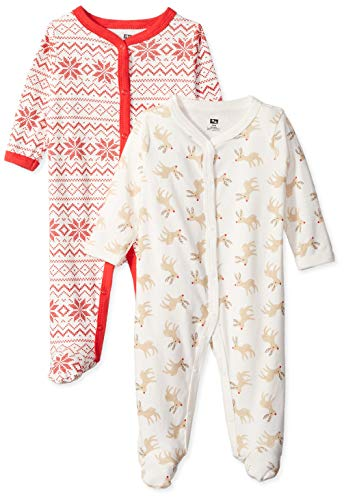 Hudson Baby Unisex Baby Cotton Sleep and Play, Reindeer, 6-9 Months