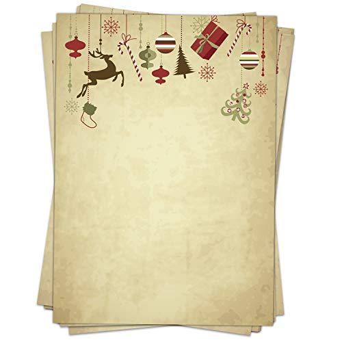 50 Blatt Briefpapier Weihnachten A4, beidseitig, Hängende Geschenke und Deko Vintage/Weihnachts-Papier für Briefe, als Einladung, Speisekarte zur Weihnachtszeit