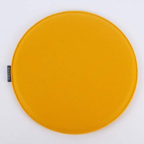 SCHÖNER LEBEN. Magma Stuhlkissen AVARO Filz rund senf gelb 35x2cm
