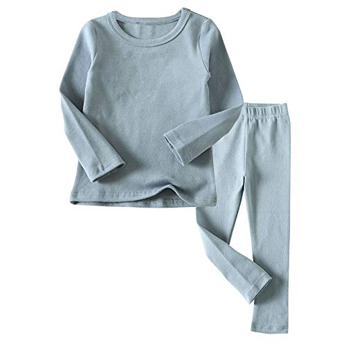 Toddler Boys Girls Thermal Underwear Long Sleeve T-Shirt Leggings 2Pcs Kids Winter Base Layer Set, (Blue,24Months)