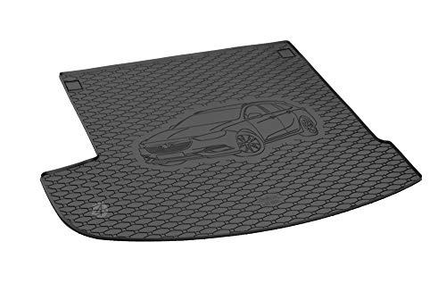 Passgenau Kofferraumwanne geeignet für Opel Insignia Sports Tourer/Kombi ab 2017 ideal angepasst schwarz Kofferraummatte + Gurtschoner