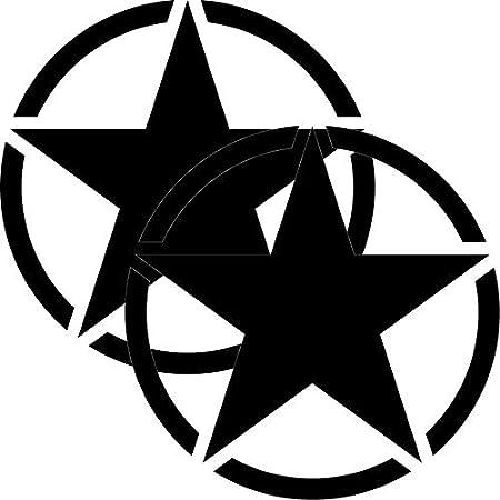 Greenit 2 Stück Us Sterne 20cm Auto Jeep Heck Tür Aufkleber Tattoo Die Cut Car Decal Fahrzeugfolie Autoaufkleber Schwarz Matt Auto