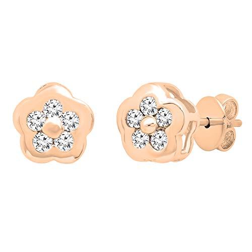 Dazzlingrock Collection Pendientes redondos de 0,29 quilates de diamante blanco para mujer, de 1/4 quilates, oro rosa de 14 quilates