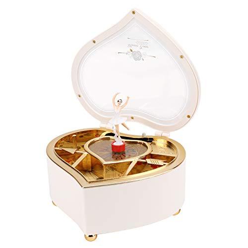 PHOGARY Forma de Corazón Caja de Música Caja de Joyas de la Música Caja de Regalo de Música Regalo de Cumpleaños de Vacaciones para Niñas, Blanco