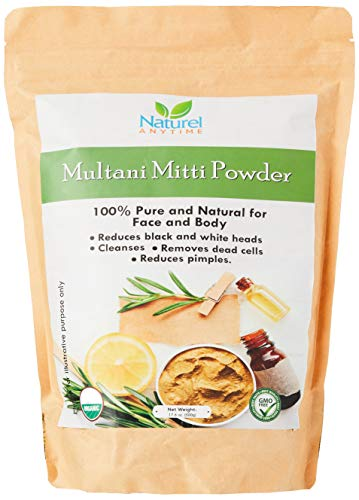Multani Mitti powder/Bentonite Organic certified healing clay used for deep cleansing facials, scrubs recipe suggestions given, organic certified, full refund for unsatisfied customers