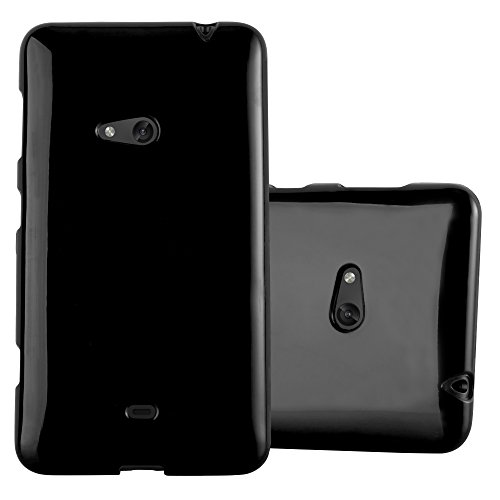 Cadorabo Hülle für Nokia Lumia 625 - Hülle in Jelly SCHWARZ – Handyhülle aus TPU Silikon im Jelly Design - Silikonhülle Schutzhülle Ultra Slim Soft Back Cover Case Bumper