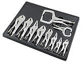 K Tool International Vice Grips Locking Pliers 10 Piece Set of Automotive Tools with Organizing Tray KTI58730
